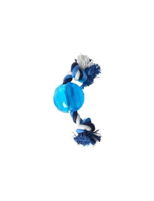 Hračka pes BUSTER Strong Ball s provazem sv. modrá, S