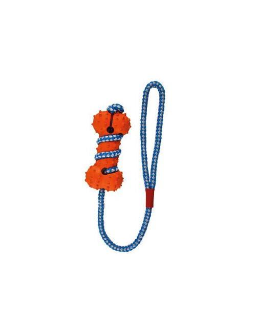 Hračka pes gumová kost oranžovo-modrá 10,5 cm
