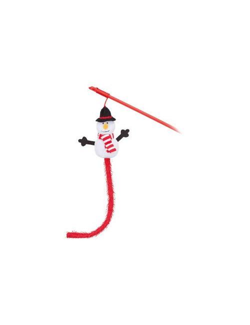 Vánoční hračka pro kočky - Sněhulák na udici 31cm