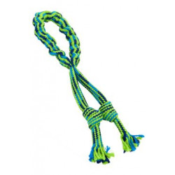Hračka pes Bungee smyčka s uzly modrozelená 35cm