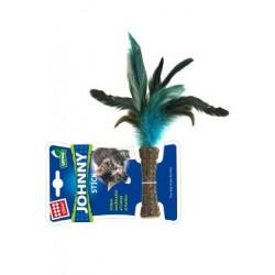 Hračka kočka GiGwi  Johnny Stick Catnip s modrými peří
