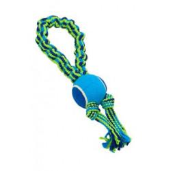 Hračka pes smyčka s tenisákem 33cm modrá-zelená Bungee