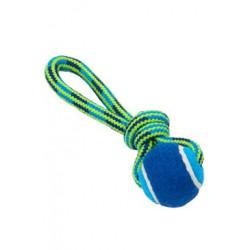 Hračka pes smyčka s tenisákem 18cm modrá-zelená BUSTER