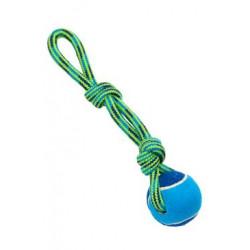 Hračka pes smyčka s tenisákem 30cm modrá-zelená BUSTER