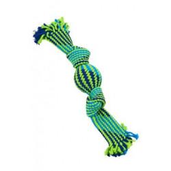Hračka pes pískací lano s balonkem 33cm mod/zel BUSTER