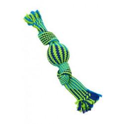Hračka pes pískací lano s balonkem 40cm mod/zel BUSTER