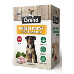 GRAND kaps. deluxe pes kuřecí s rýží a špenát. 4x300g