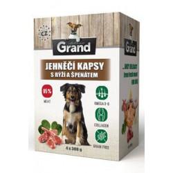 GRAND kaps. deluxe pes jehněčí s rýží a špenát. 4x300g