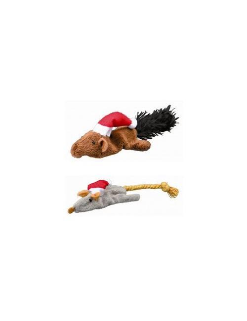 Vánoční hračka pro kočku - myš-veverka 14-17cm