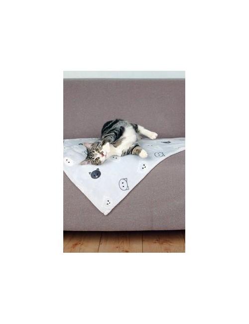 Deka pro kočky MIMI šedá s kočičími hlavami 70x50cm TR