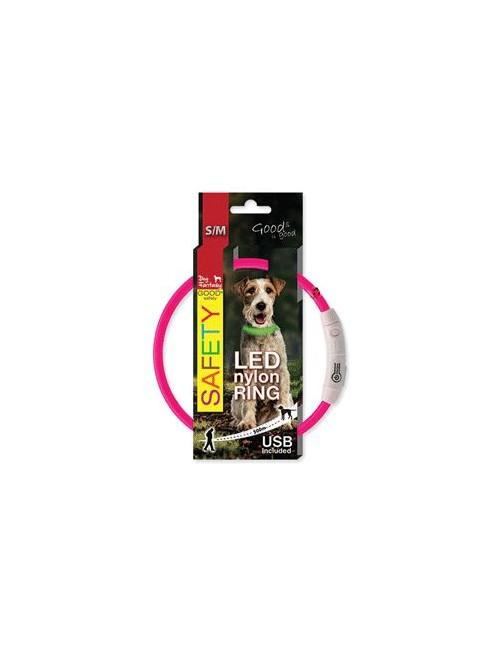 Obojek DOG FANTASY světelný USB růžový 45cm 1ks