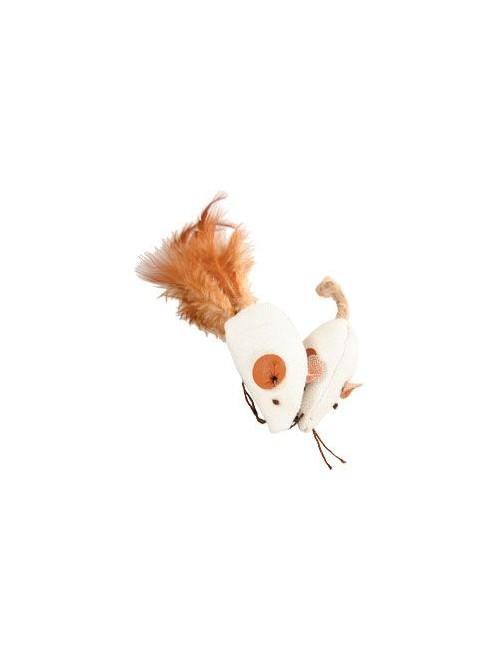 Hračka kočka myš bílá 2 x 4cm textil Zolux